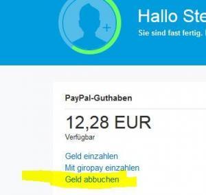 auf paypal konto geld einzahlen