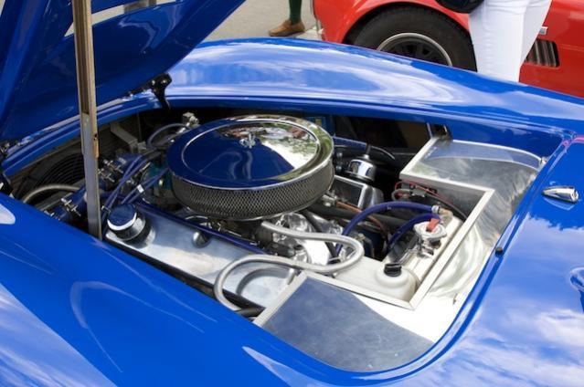 Ford 302 mit einem klassischem Doppelvergaser - spartanischer kann ein 8-Zylinder nicht bestückt sein!