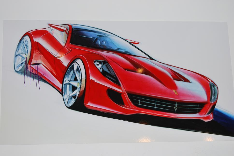 Schöne Konzeptzeichnung eines Ferrari 599