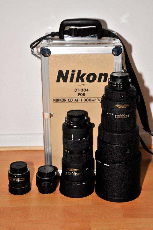 Nikon AF 10,5mm 2.8 Fisheye Nikon AF 50mm 1.8 D Nikon AF 80-200mm 2.8 Nikon AF-I 300mm 2.8