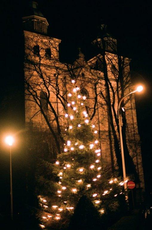 Weihnachtsbaum vor der Kathedrale von Malmedy, Dezember 2008